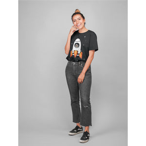 Load image into Gallery viewer, Girl Wearing Space Chimp X Chimpanzee in Rocket T-shirt