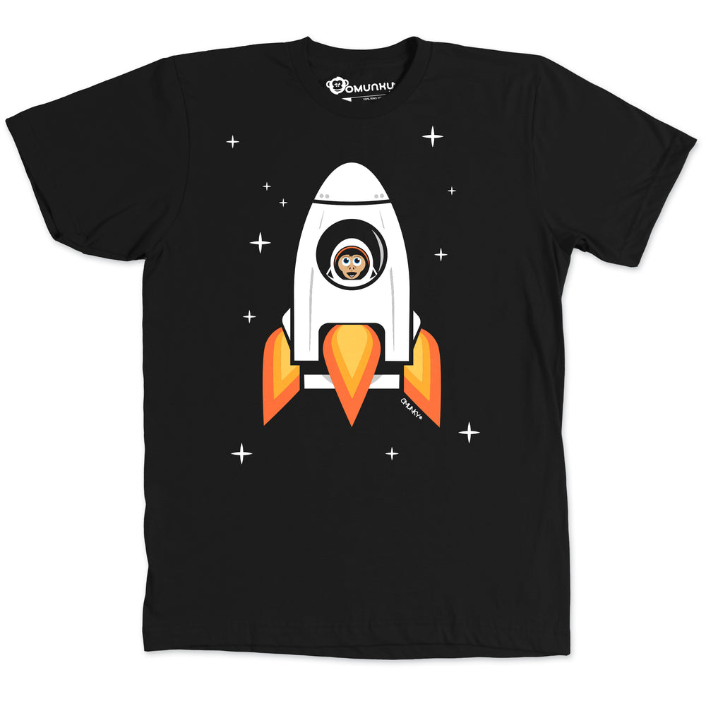 Load image into Gallery viewer, Space Chimp X Black Chimpanzee in Rocket T-shirt
