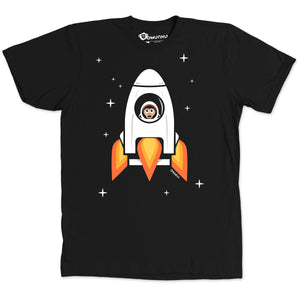 Space Chimp X Black Chimpanzee in Rocket T-shirt