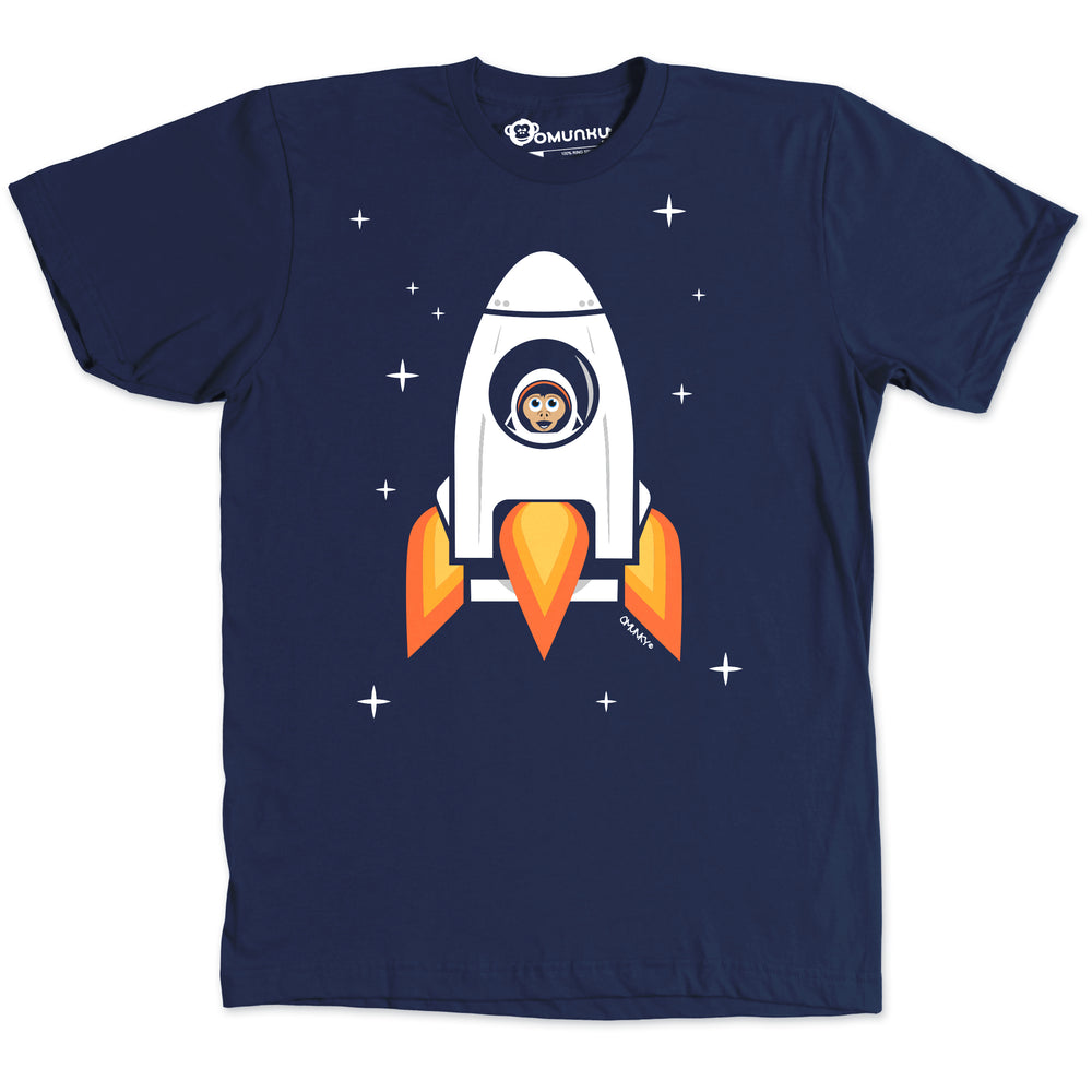 Load image into Gallery viewer, Space Chimp X Navy Chimpanzee in Rocket T-shirt