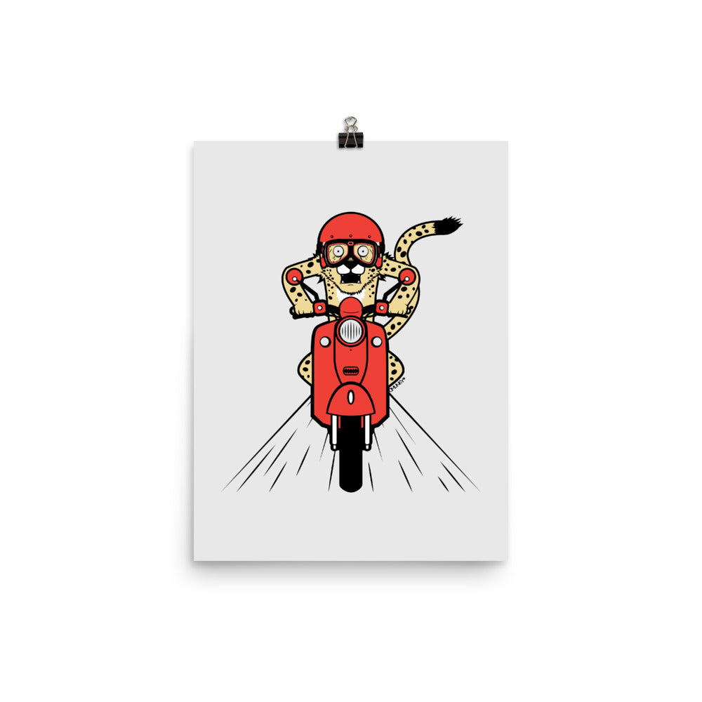 Load image into Gallery viewer, Cheetah Scooter Poster