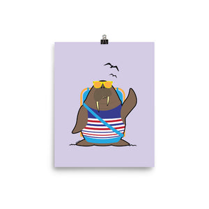 Walrus at the Beach Poster