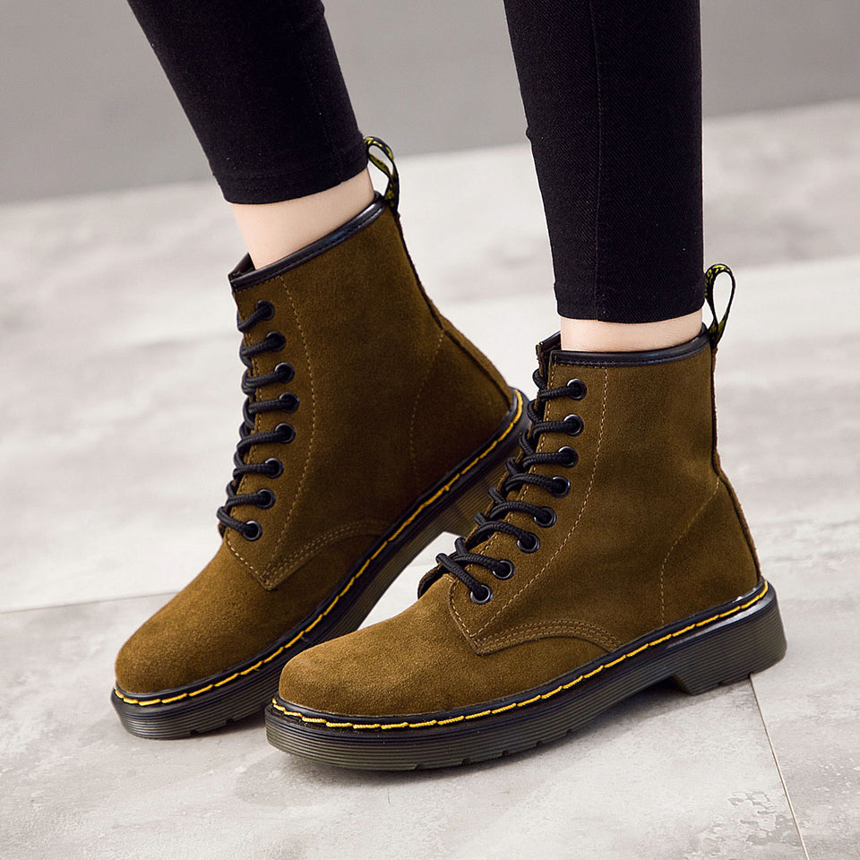 Tokio Suede Laced Bella Boot Army