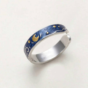 The Starry Night Inspired Sterling Silver 925 Enamel Ring - Art Store