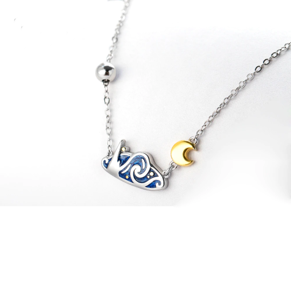 Van Gogh's Starry Night Sterling Silver Necklace - Art Store