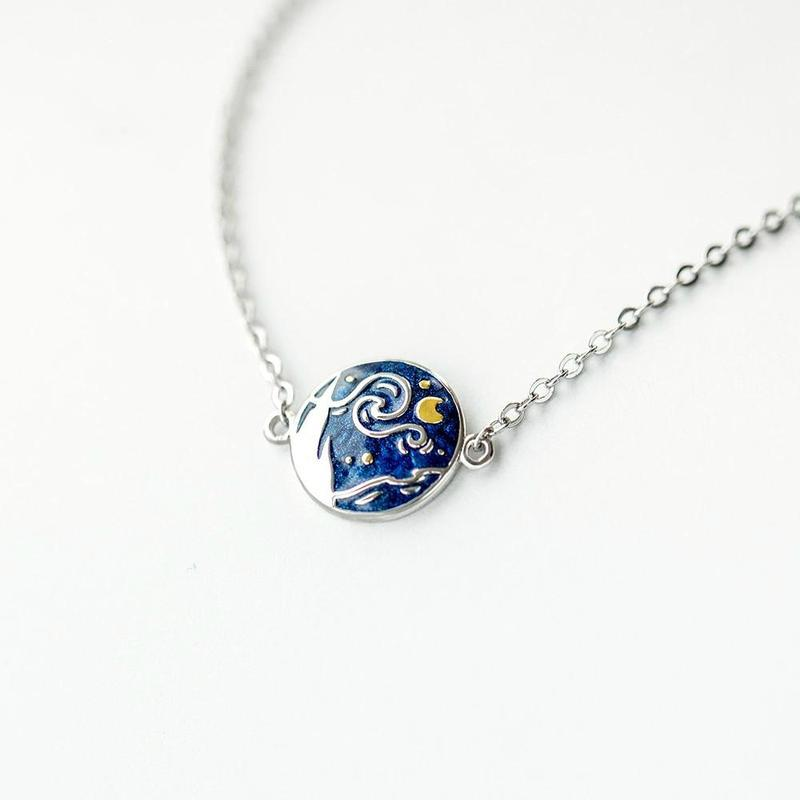 The Starry Night Cloisonne Plated 925 Sterling Bracelet - Art Store