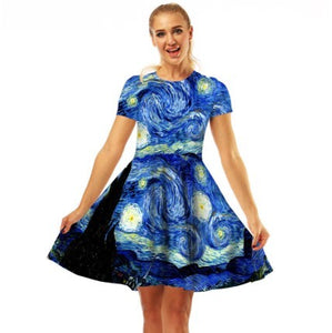 Van Gogh Starry Night Slim Fit  Dress - Art Store