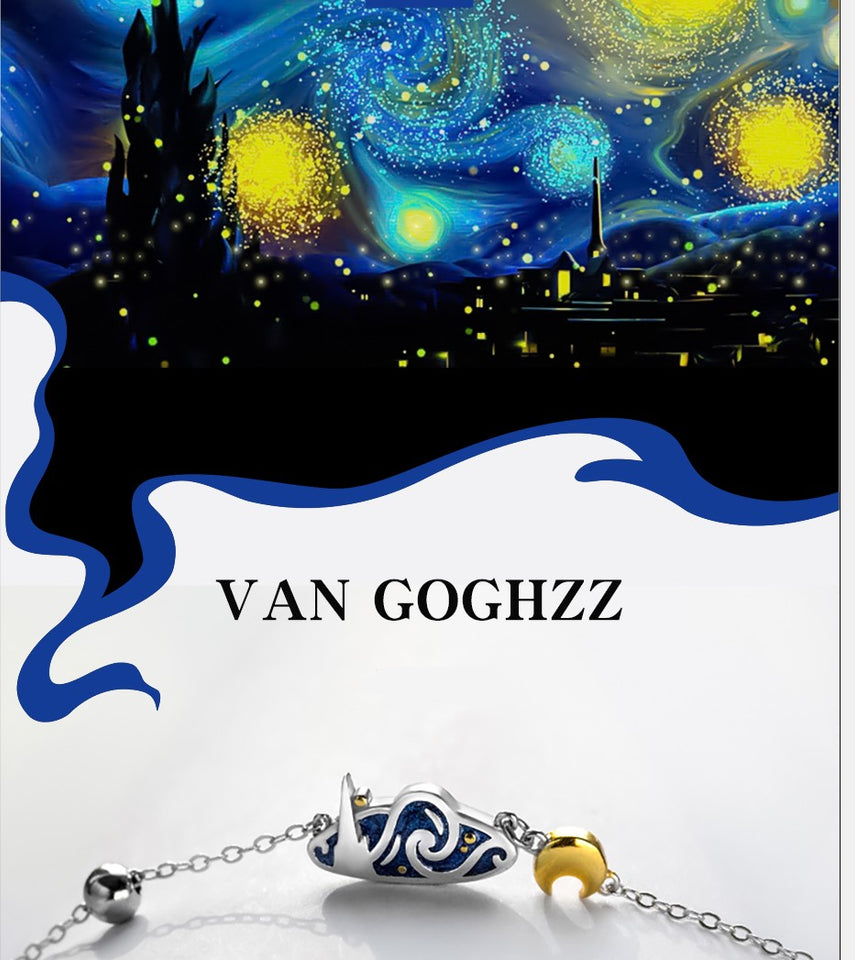 The Starry Night Silver Necklace - Art Store