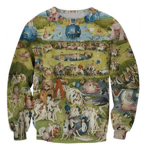 Garden of Earthly Delight 3D Printed Long Sleeve Outerwear Sweatshirt - Art Store