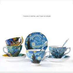 Exquisite Bone China Van Gogh Art Coffee Cup Kits With Saucer and Spoon Gift Box - Art Store