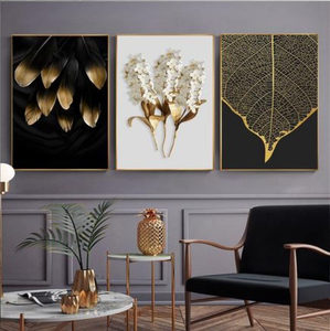 Scandinavian Golden Leaf & Petals Wall Art