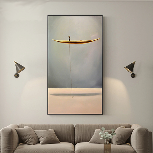 'Artistic Man On A Golden Boat' Wall Art - Art Store