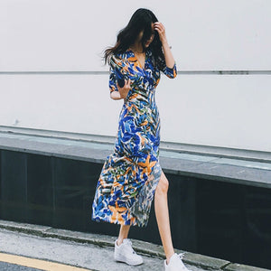 The Starry Night Inspired V neck Maxi Floral Dress - Art Store