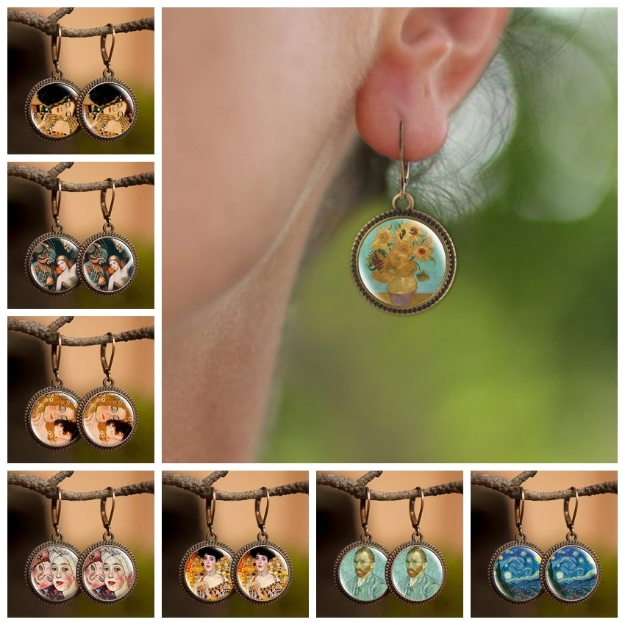 Famous Art Paintings Inspired round Earrings