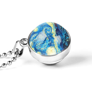 Starry Night Glass Dome Necklace - Art Store