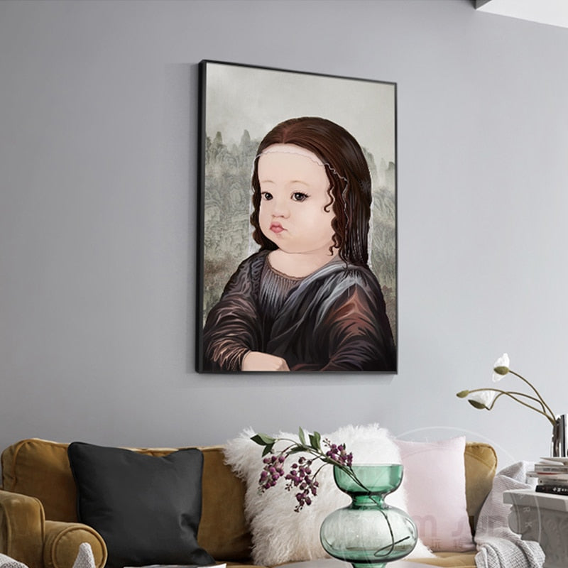 Cartoon Baby Mona Lisa & Girl With a Pearl Earring Wall Art - Art Store