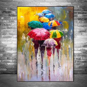 Colorful Umbrellas in the Rain Wall Art Prints