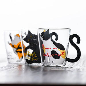 Cute Creative Cat Mug Glass Coffee Cup