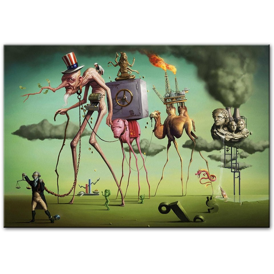 "Salvador Dali Inspired ""The American Dream"" Wall Art Print"