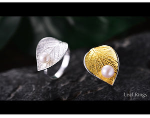 Water Drop Pearl Leaf Ring