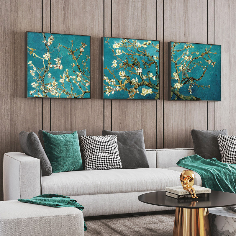 Van Gogh 'Almond Blossom Tree' 3 Panels Wall Art
