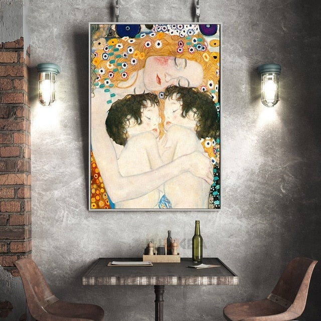 Gustav Klimt 'Mother and Child Twins' Wall Art Print