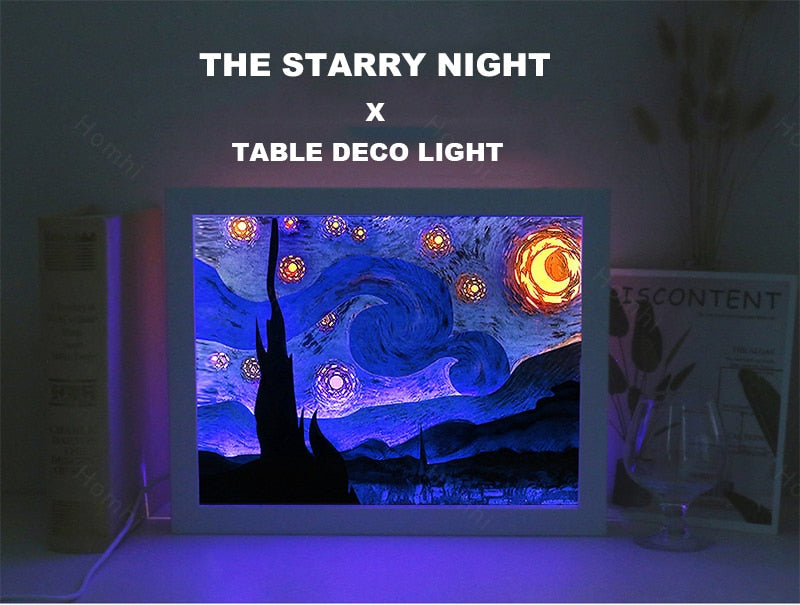 Starry Night Framed Night Light Decoration