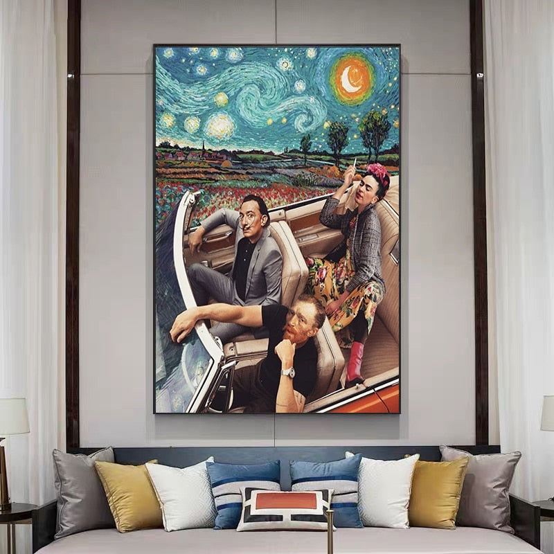 Dali, Gogh And Frida In Car Starry Night Wall Art Print