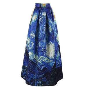 Van Gogh Starry Night 3D Printed High Waist Maxi Skirt - Art Store