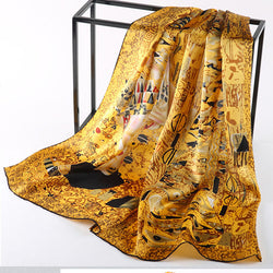 Luxury Silk Scarf with Famous Oil Painting by Van Gogh & Gustav Klimt - Art Store
