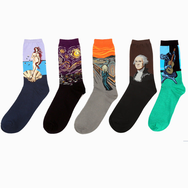 Novelty Retro Oil Paintings Art Socks 5 Pairs/Set - Art Store