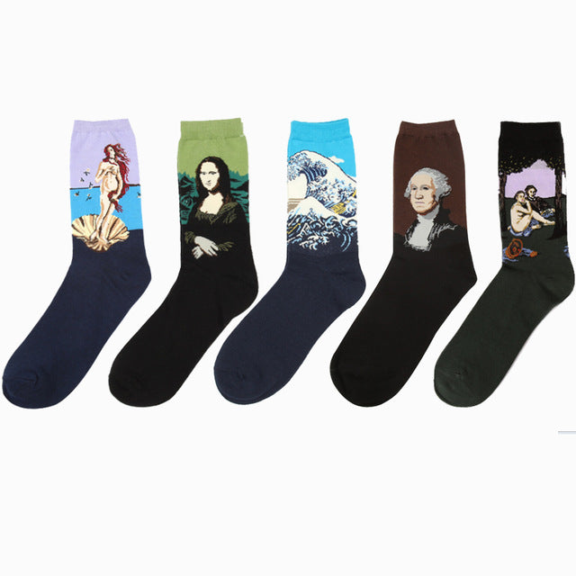 Novelty Popular Retro Art Oil Painting Style Uni-sex Socks 5 Pairs/Set - Art Store