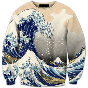 The Great Wave off Kanagawa Printed Long Sleeve Outerwear Sweatshirt