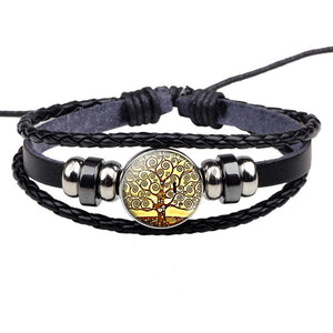 Gustav Klimt Art Braided Adjustable Leather Bracelet - Art Store