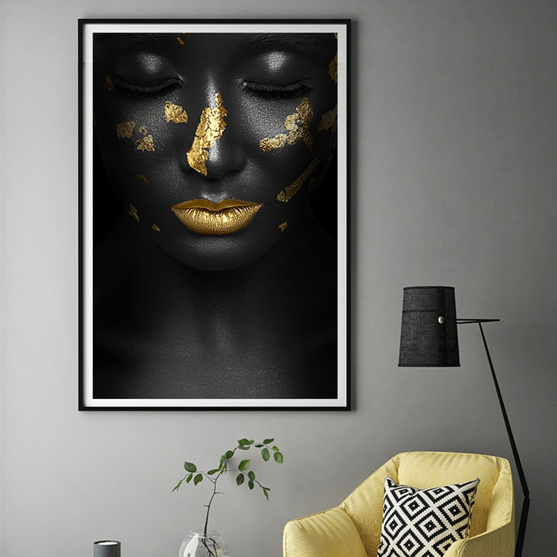 Black and Gold Lady Canvas Wall Art - Art Store