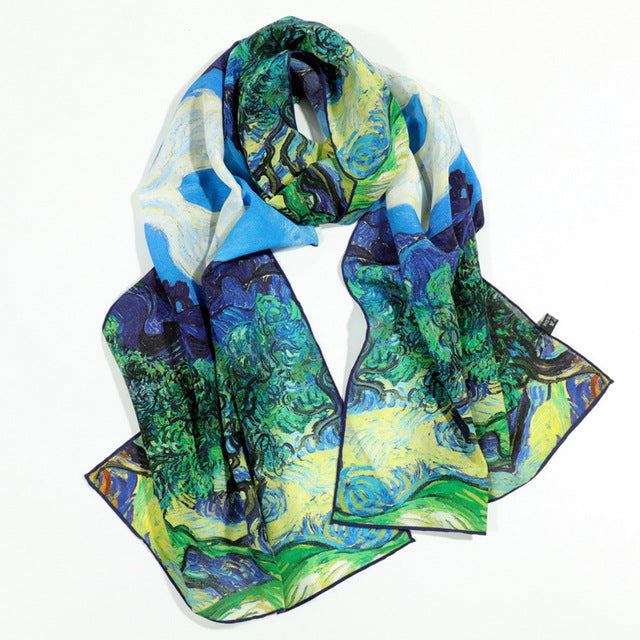 Famous Oil Painting Inspired 100% Silk Scarves - Art Store