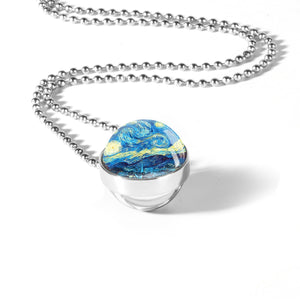 Starry Night Inspired Double Sided Glass Dome Necklace - Art Store