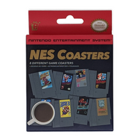 NES coasters front displaying eight games.