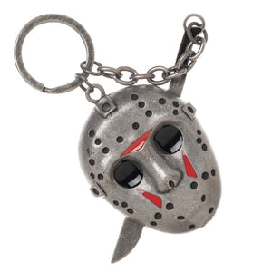 Friday the 13th Jason Voorhees 3D Mask with Machete Keychain