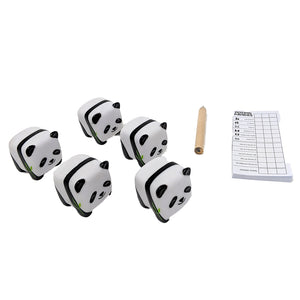 panda dice, score card, and pencil