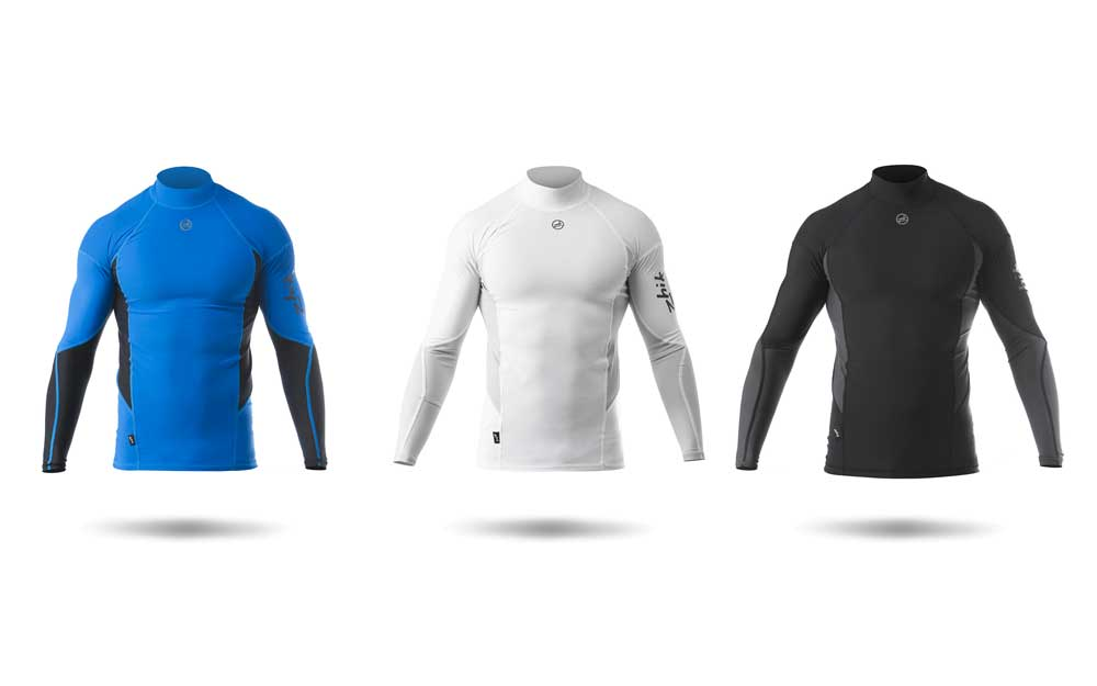 Zhik Mens Long Sleeve Rash Vest Tops - Blue, White and Black Spandex Sailing Tops