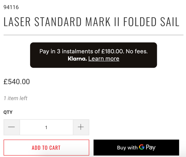 Image showing example of how split payments are displayed on the Sailing Chandlery website