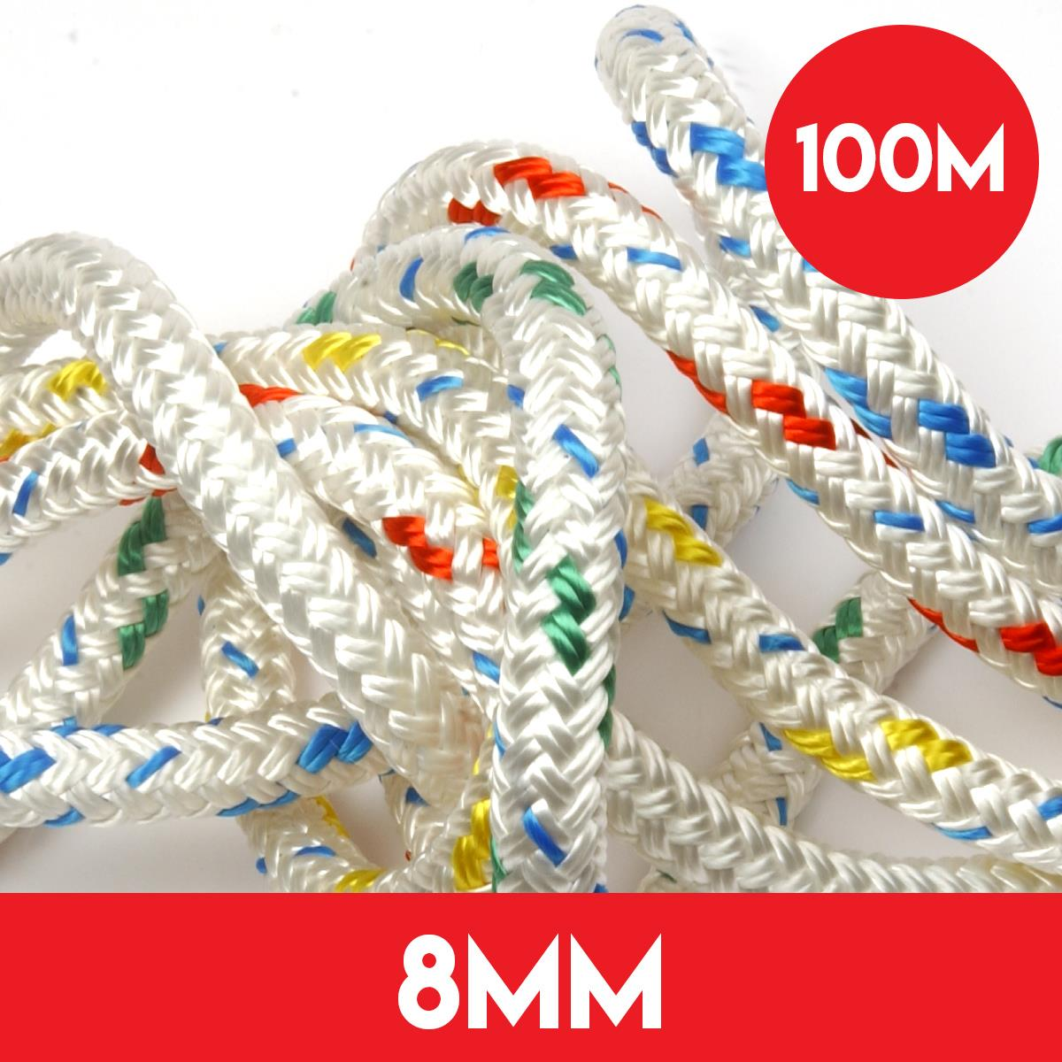 100m Reel of 8mm Polyester Braid on Braid Rope by Kingfisher