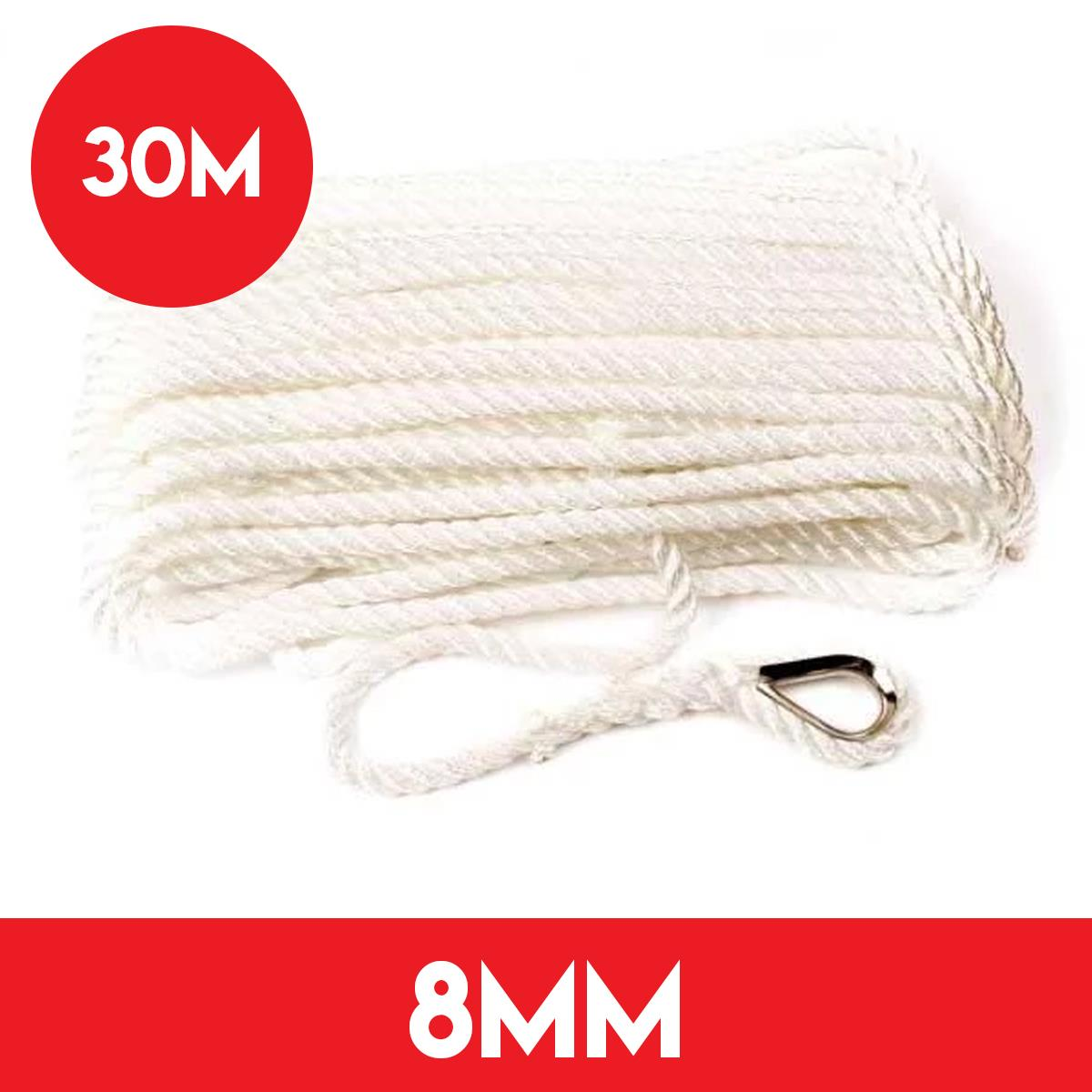 8mm Pre Spliced Anchor Line - 30 Meters