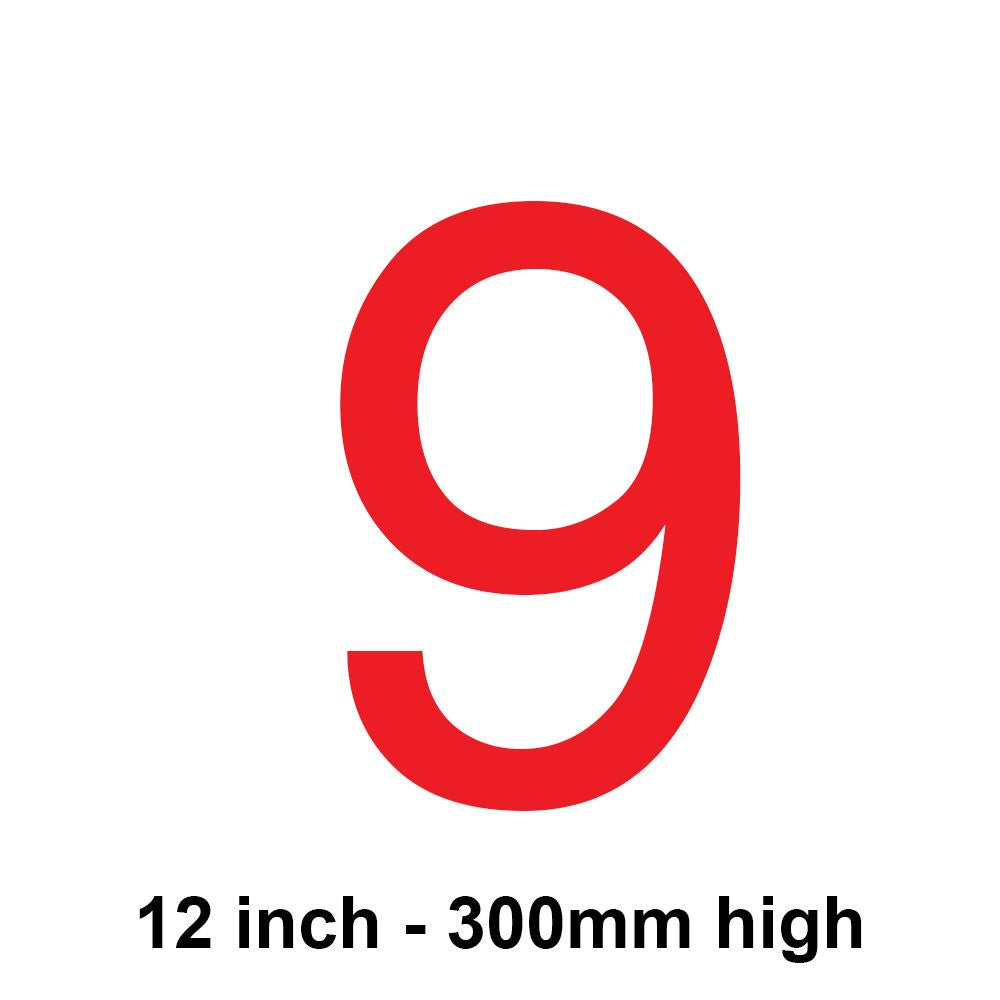 9 - Red 300mm Sail Number