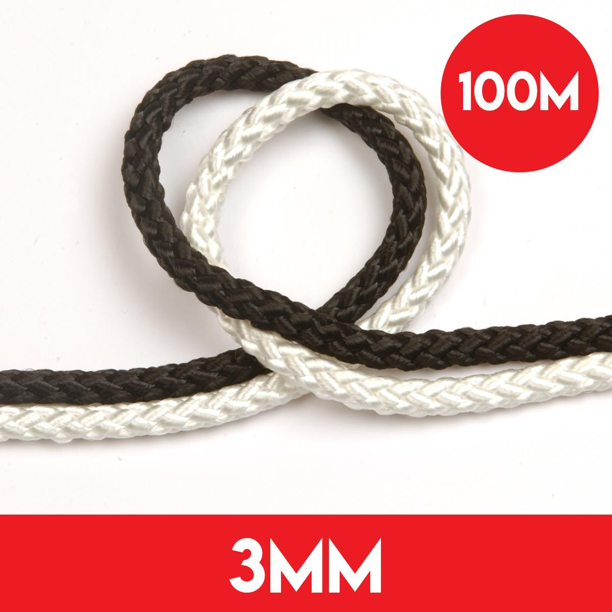 100m of 3mm 8 Plait Standard Polyester Rope