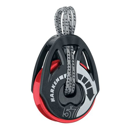 Harken 57mm Automatic Ratchet T2 Soft-Attach Block - Red Sheave