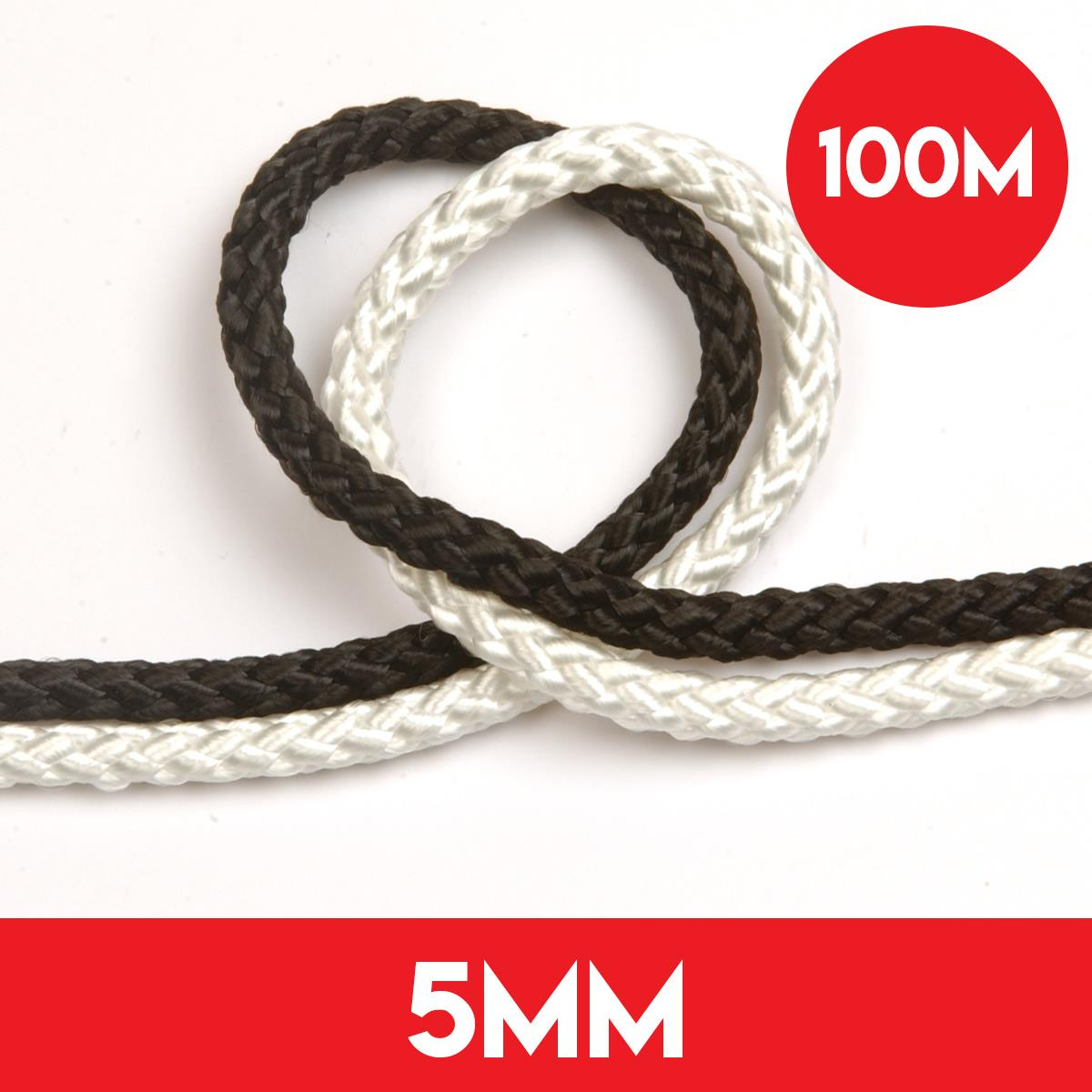 100m of 5mm 8 Plait Standard Polyester Rope