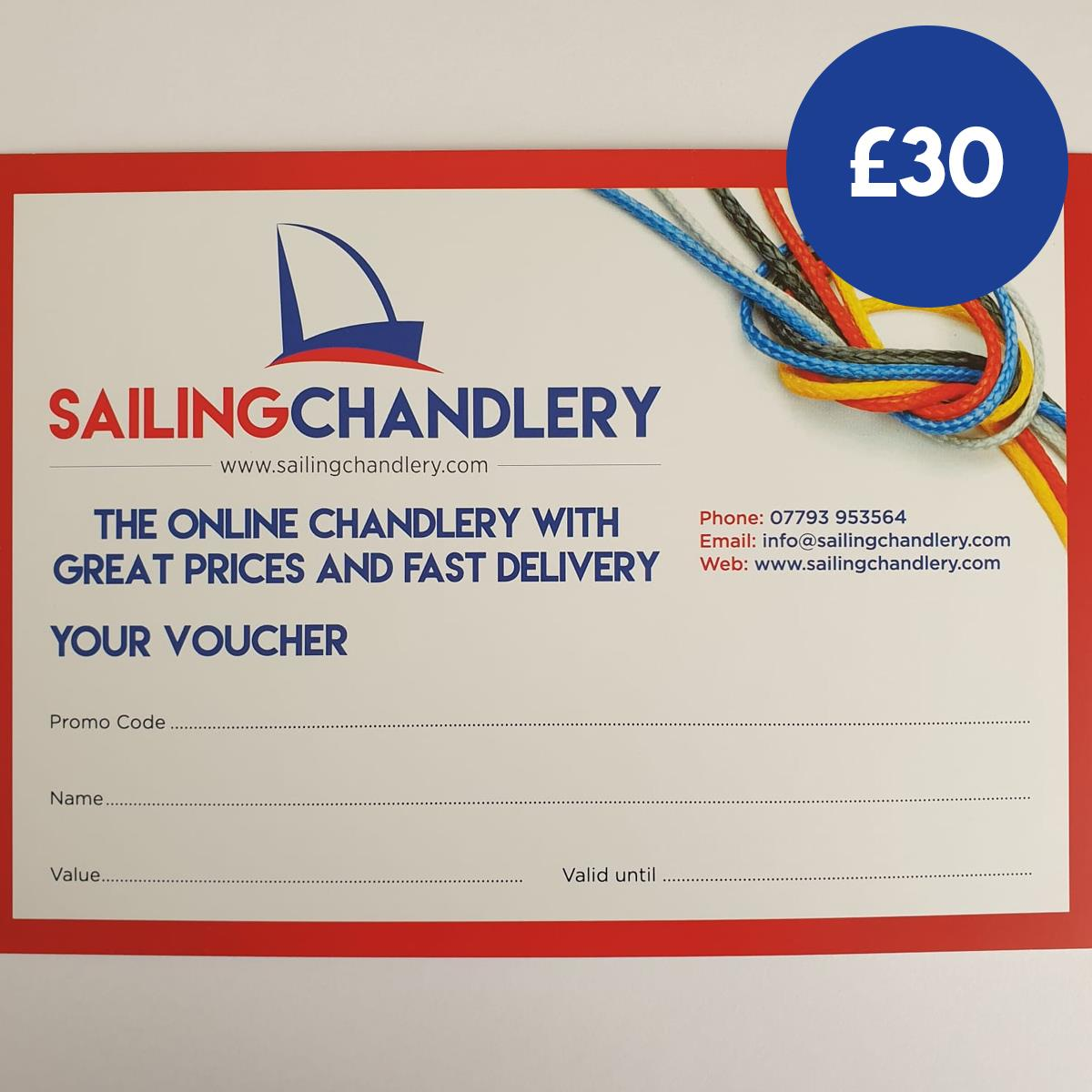 £30 Sailing Chandlery Sailing Gift Voucher