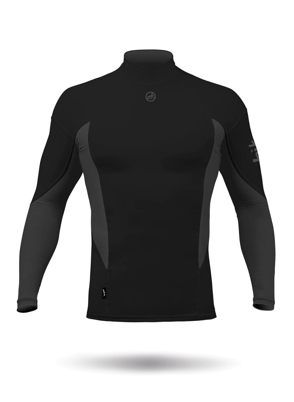 Mens Zhik Long Sleeve Spandex Rash Vest Top - Black
